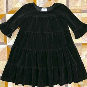 Hanna Andersson black velour 4-tiered ruffle dress